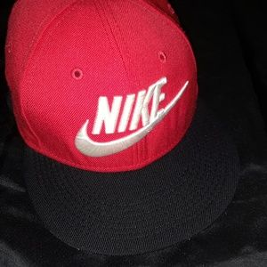 Vtg Nike TRUE Spell Out 90s Snapback Hat Cap Red